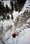 Chad Jukes leads the crux pitch on Horsetail Falls on Red Mountain Pass south of Ouray, Colo., on Feb. 18, 2010. (Photo by Michael G. Seamans)