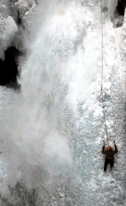 Heidi Duce, of Ouray, Colo., follows Tangled Up In Blue in the Ouray Ice Park on Friday, March 12, 2010.
