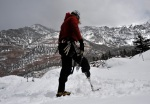 Chad Jukes walks along the top of the Uncompahgre Gorge after a day of ice climbing  in Ouray, Colo., on Feb 10, 2010.